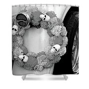 Black White Skulls Classic Car  Shower Curtain
