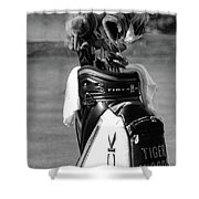 Black White Tiger Woods Bag Clubs  Shower Curtain
