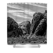 Black White Valley Of Fire  Shower Curtain