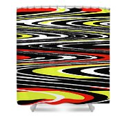 Black Yellow Red White Abstract Shower Curtain