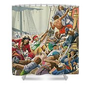 Blackbeard And His Pirates Attack Shower Curtain