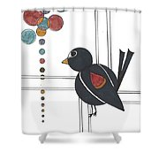 Blackbird With Circles Shower Curtain