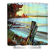 Blackie Spit Meets Mud Bay Shower Curtain