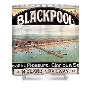 Blackpool, England - Retro Travel Advertising Poster - Seaside Resort - Vintage Poster Shower Curtain