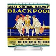 Blackpool, England - Retro Travel Advertising Poster - Three Fashionable Women - Vintage Poster -  Shower Curtain