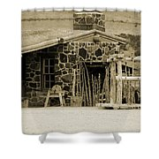 Blacksmith Shop 1867 Cove Creek Fort Utah Photograph In Sepia Shower Curtain