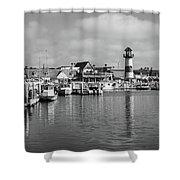 Black And White Oceanside California Marina  Shower Curtain