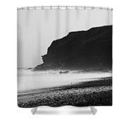 Blast Beach Monochrome Shower Curtain