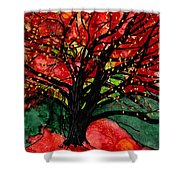 Blazing Red Orange Autumn Tree Shower Curtain