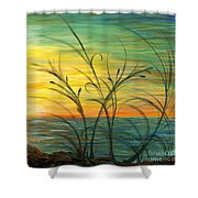 Blazing Sunrise And Grasses In Blue Shower Curtain