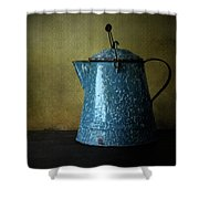 Blue Enamelware Coffee Pot Shower Curtain
