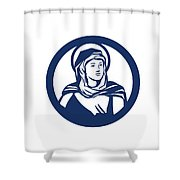Blessed Virgin Mary Circle Retro Shower Curtain