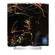 Blizzard Of Colorful Lights. Dancing Lights Series Shower Curtain