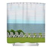 Block Island Hotel Ocean View Shower Curtain