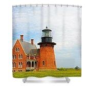 Block Island Southeast Lighthouse Artwork Shower Curtain