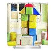 Blocks At Night Shower Curtain