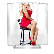 Blond Female Bistro Babe On Bar Stool In Red Dress Shower Curtain