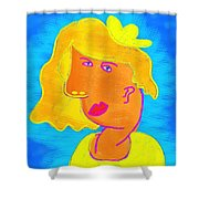 Blond Girl In A Yellow Hat Cubism Style Shower Curtain