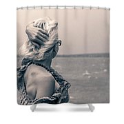 Blond Woman Looking To The Horizon. Shower Curtain