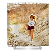 Blond Woman Trail Runner Shower Curtain