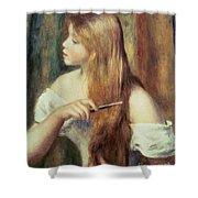 Blonde Girl Combing Her Hair Shower Curtain by Pierre Auguste Renoir