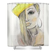 Blonde Hair, Yellow Hat -- The Original Shower Curtain