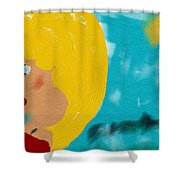 Blonde Looking For Thought Shower Curtain