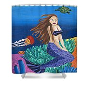 Blonde Mermaid With Purple Tail Shower Curtain