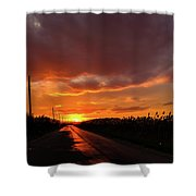 Blood And Gold In The Road Sunset At Portmahon Delaware Shower Curtain