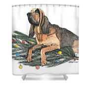 Blood Hound Christmas Shower Curtain