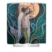 Blood Moon Goddess  Shower Curtain