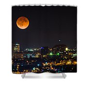Blood Moon Over Downtown Shower Curtain