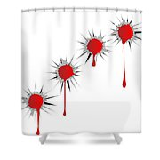 Blooded Bullet Holes Shower Curtain