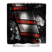 Bloody Knife Wrapped In Red Crime Scene Ribbon Shower Curtain