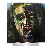 Bloody Zombie Nurse Screaming Out In Insanity Shower Curtain