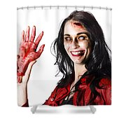 Bloody Zombie Woman With Severed Hand Shower Curtain