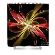 Bloom With Red Shower Curtain