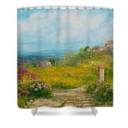 Blooming Country Road - Italy Shower Curtain