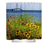 Blooming Flowers By The Bridge At The Straits Of Mackinac Shower Curtain