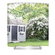 Blooming Tree Next To Shed Shower Curtain