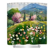 Blooming Tuscany Landscape Shower Curtain