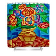 Blooms In Blue Shower Curtain