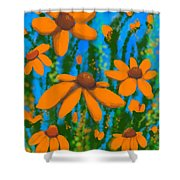 Blooms Of Orange Shower Curtain