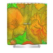 Blooms Yellow Shower Curtain
