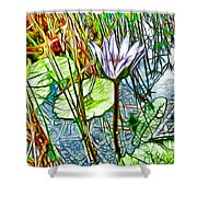 Blossom Lotus Flower In Pond Shower Curtain