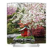 Blossoms Abound In The Japanese Garden Shower Curtain