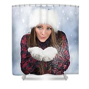 Blowing Snow In Winter Shower Curtain