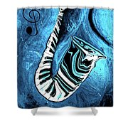 Piano Keys In A Saxophone Blue 2 - Music In Motion Shower Curtain