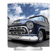 Blue 57 Stepside Chevy Shower Curtain