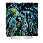 Blue Abstract Art Lorx Shower Curtain
